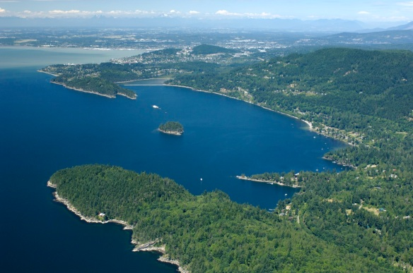 Chuckanut Bay and Bellingham aerial from Southwest