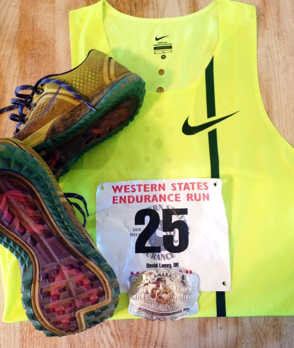 Singlet, race number, Silver beltbuckle, trusty and dusty Nike Zoom Terra Kiger shoes.