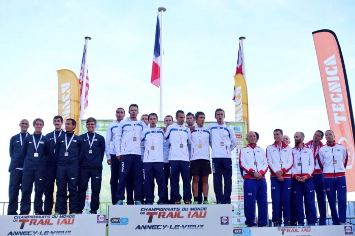 The 2015 IAU World Trail Championship Podium.  France with the gold, USA with the Silver and Great Britain with the Bronze